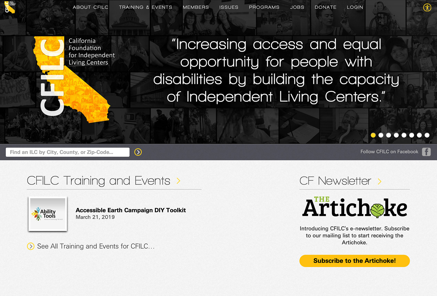 Screenshot of the CFILC website.