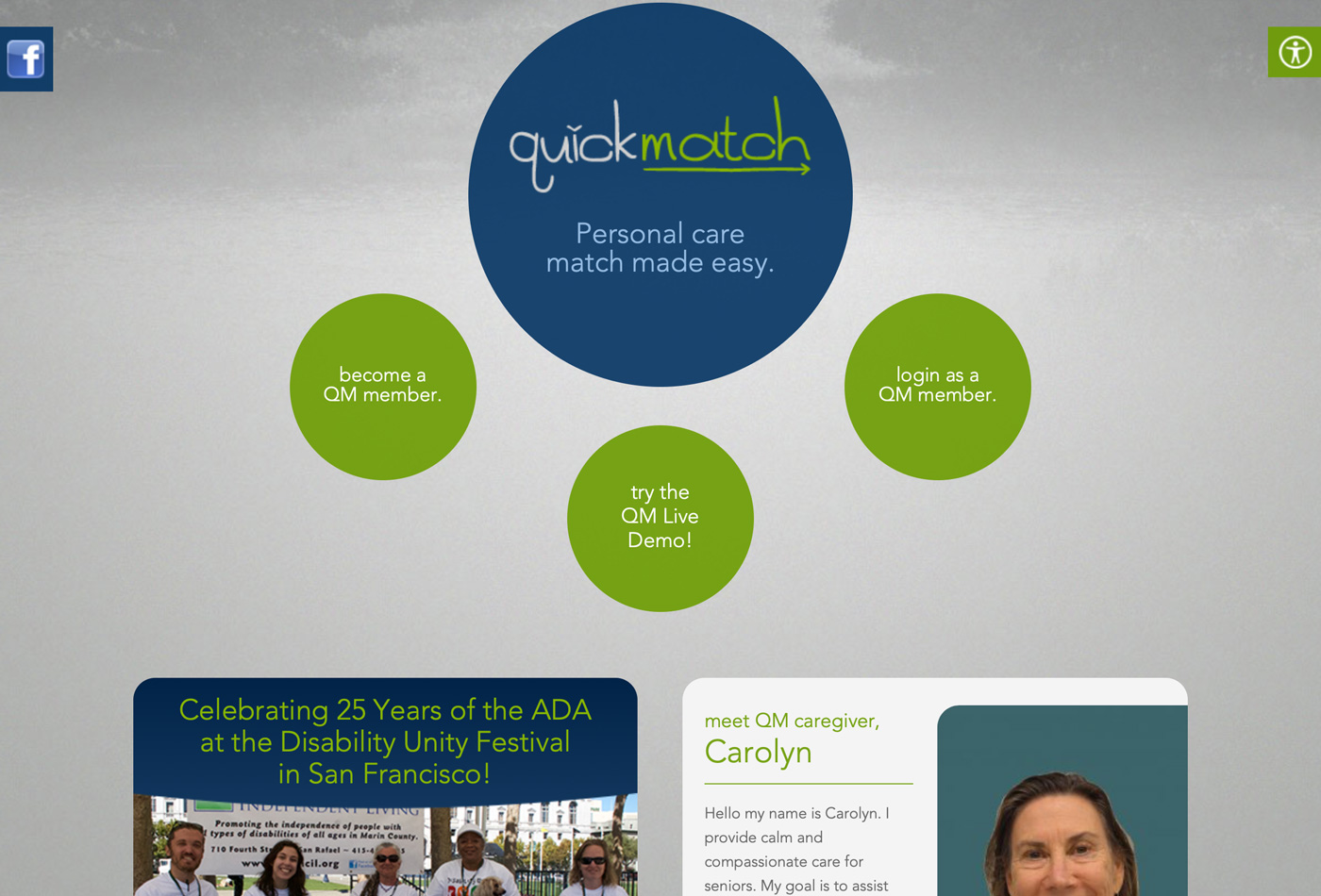 Screenshot of the QuickMatch website.