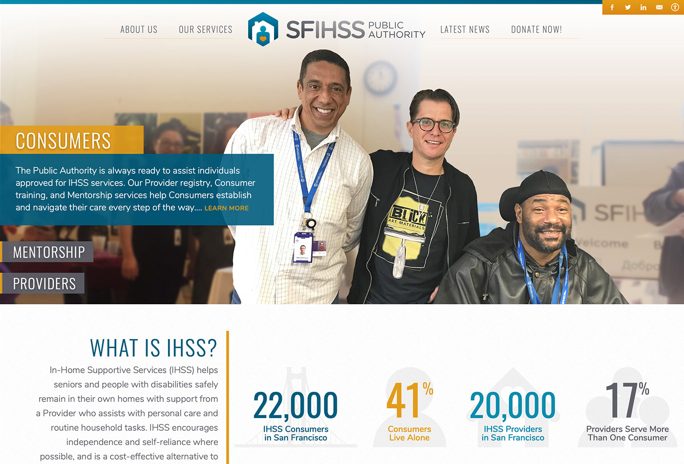 Screenshot of the San Francisco IHSS Public Authority website.