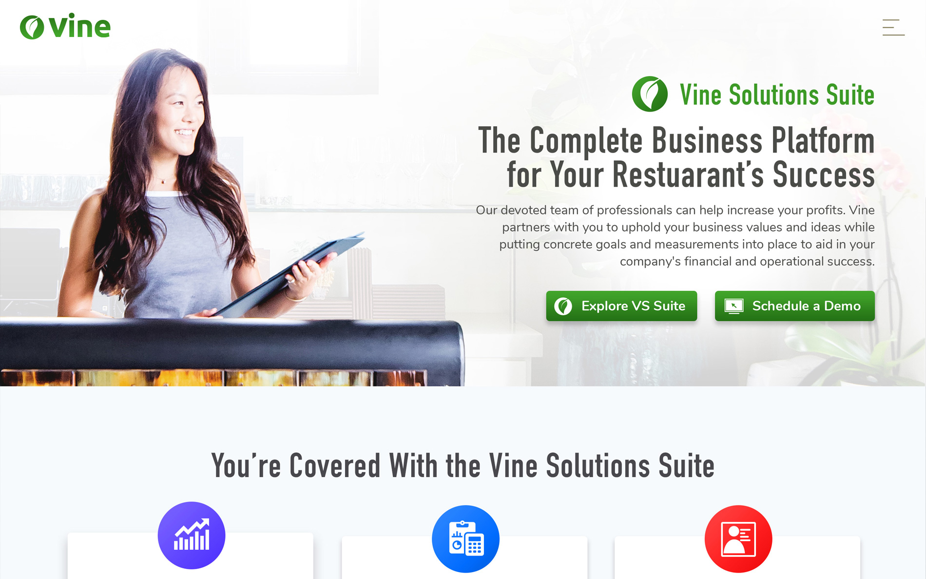Screenshot of the Vine Solutions website.